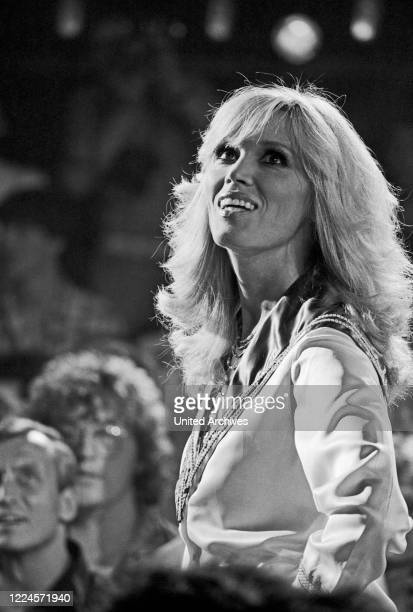 Singer, painter and actress Amanda Lear during a performance at Germany, early 1980s.