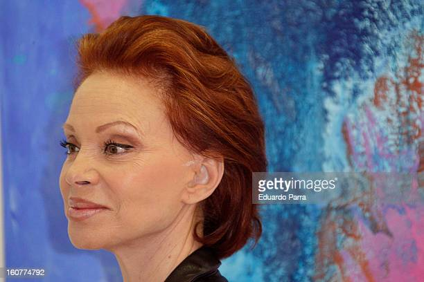 Singer Paloma San Basilio attends the presentation of his exhibition of paintings at Star gallery on February 5 2013 in Madrid Spain