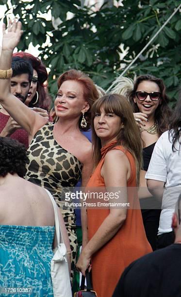 Singer Paloma San Basilio performs at MADO 2013 gay parade opening speech at Chueca Square on July 3 2013 in Madrid Spain