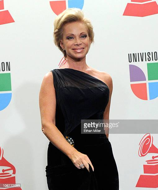 Singer Paloma San Basilio poses in the press room during the 11th annual Latin GRAMMY Awards at the Mandalay Bay Resort Casino on November 11 2010 in...
