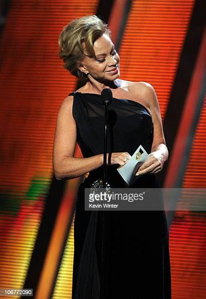 Singer Paloma San Basilio presents an award onstage during the 11th annual Latin GRAMMY Awards at the Mandalay Bay Events Center on November 11 2010...