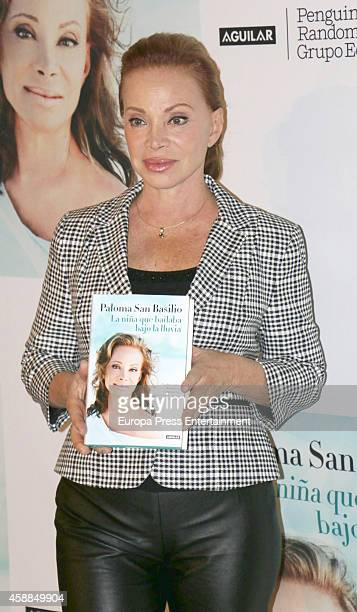 Singer Paloma San Basilio presents her new book 'La nina que bailaba bajo la lluvia' on November 11 2014 in Madrid Spain