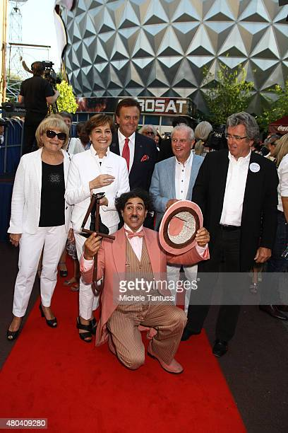 Singer Paola Del Medico Felix and her Husband Kurt Felix pose with Roland Mack chairman of EuropaPark during EuropaPark's 40th Anniversary at the...