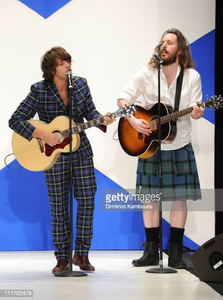 Singer Paolo Nutini performs on the runway at the 9th annual Dressed to Kilt charity fashion show at the Hammerstein Ballroom on April 5 2011 in New...