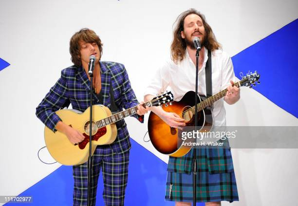 Singer Paolo Nutini performs on the runway at the 9th Annual Dressed To Kilt charity fashion show at Hammerstein Ballroom on April 5 2011 in New York...