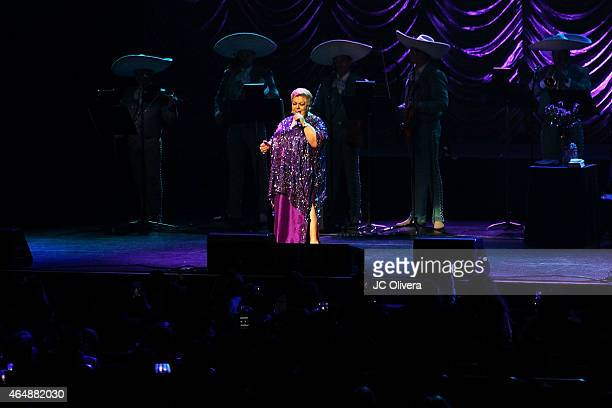 Singer Paquita la del Barrio performs on stage at Nokia Theatre LA Live on February 28 2015 in Los Angeles California