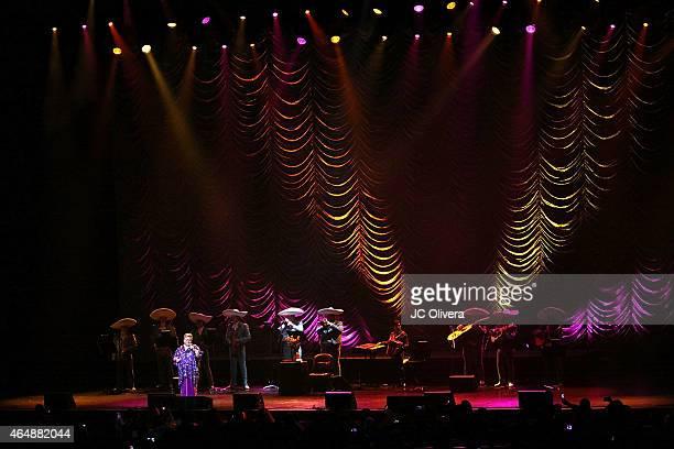 Singer Paquita la del Barrio performs on stage at Nokia Theatre LA Live on February 28 2015 in Los Angeles California