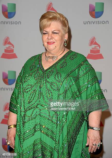 Singer Paquita la del Barrio poses in the press room at the 14th Annual Latin GRAMMY Awards held at the Mandalay Bay Events Center on November 21...