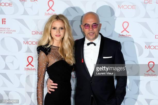 Singer Pascal Obispo and Julie Hantson attends the 17th Diner De La Mode as part of Paris Fashion Week on January 24 2019 in Paris France