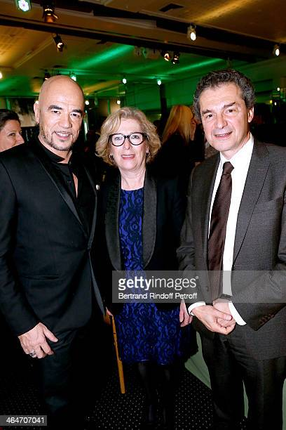 Singer Pascal Obispo French Minister of Higher Education and Research Genevieve Fioraso and Professor Yves Levy attend the Sidaction Gala Dinner 2014...