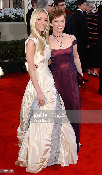 Singer Pat Benatar poses with her daughter 2002 Miss Golden Globe Haley Giraldo at the 59th Annual Golden Globe Awards at the Beverly Hilton Hotel...
