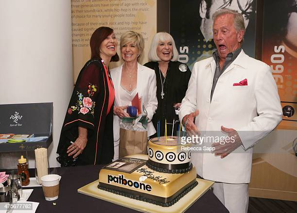 Singer Pat Boone with daugthers Lindy Boone and Debby Boone and wife Shirley Boone at An Evening With Pat Boone at The GRAMMY Museum on June 2 2015...