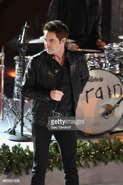 Singer Pat Monahan of the pop group Train performs on stage during the 85th Rockefeller Center Christmas Tree Lighting Ceremony at Rockefeller Center...