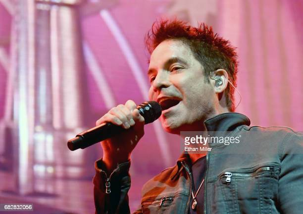 Singer Pat Monahan of Train performs as the band kicks off the Play That Song Tour in support of the album A Girl a Bottle a Boat at MGM Grand Garden...