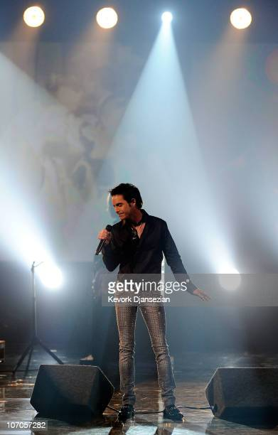 Singer Pat Monahan of Train performs onstage during the 2010 American Music Awards held at Nokia Theatre LA Live on November 21 2010 in Los Angeles...