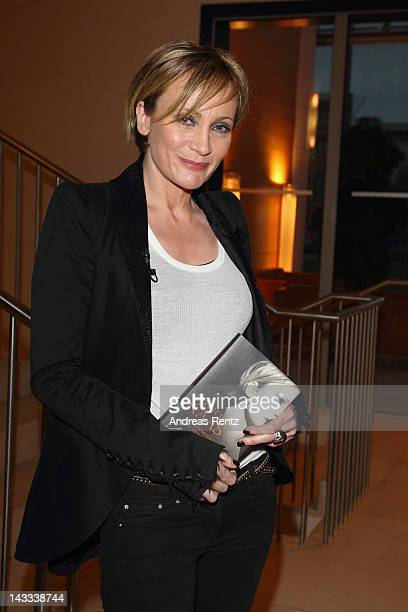 Singer Patricia Kaas launches her autobiography L'ombre de ma voix at the Bertelsmann representative office on April 24 2012 in Berlin Germany