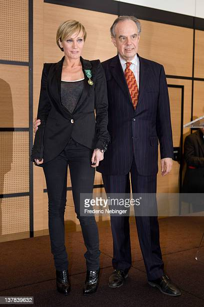 Singer Patricia Kaas poses after being honored by French Minister of Culture Frederic Mitterand during MIDEM 46th Edition at Hotel Majestic on...