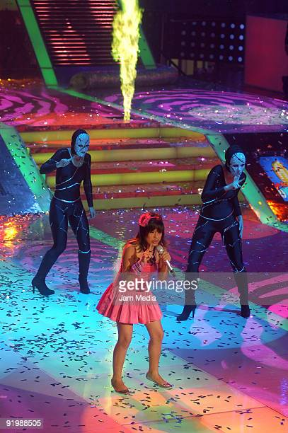 Singer Patricia performs during the third concert of the reality show La Academia of TV Azteca at Churubusco Studios on October 18 2009 in Mexico...