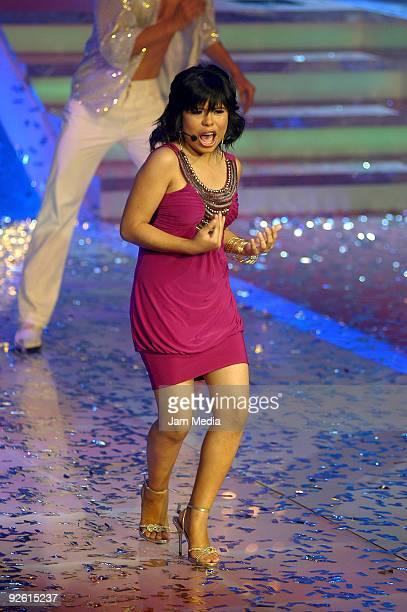 Singer Patricia performs during TV Azteca's fifth la Academia concert Churubusco Studios on November 1 2009 in Mexico City Mexico