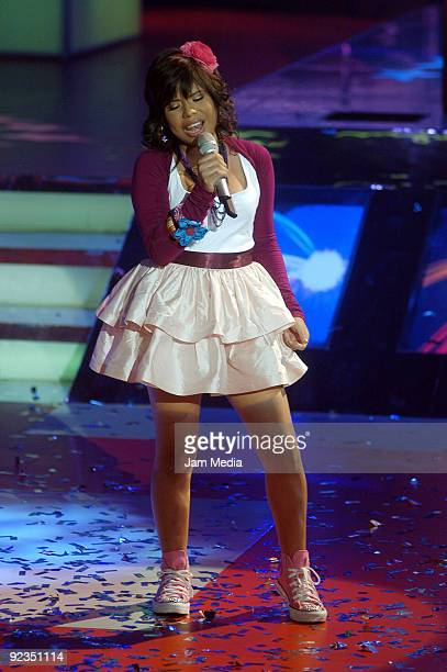Singer Patricia perfroms during the fourth concert of the reality show La Academia of TV Azteca at Churubusco Studios on October 25 2009 in Mexico...