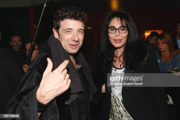 Singer Patrick Bruel and French Minister Yamina Benguigui backstage after Patrick Bruel's concert at Zenith de Paris on May 30 2013 in Paris France