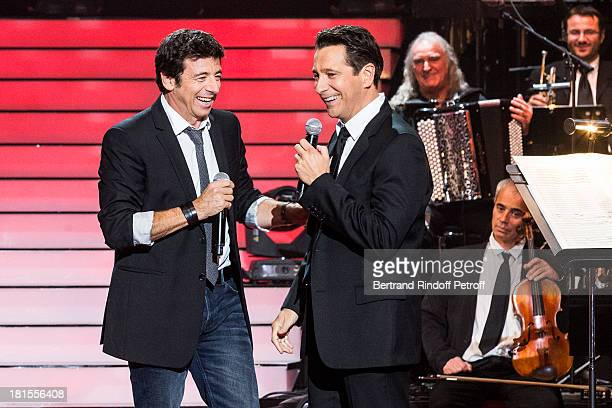 Singer Patrick Bruel and impersonator Laurent Gerra impersonating successively singers Charles Aznavour Gilbert Becaud Serge Reggiani Yves Montand...