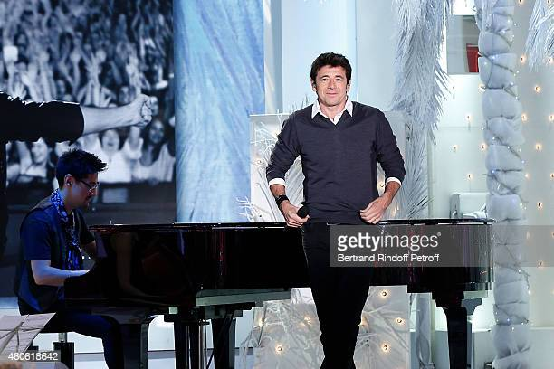 Singer Patrick Bruel performs and presents the CD 'Bruel / Live 2014' during the 'Vivement Dimanche' French TV Show at Pavillon Gabriel on December...