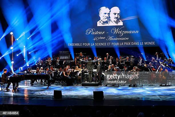 Singer Patrick Bruel performs as a Bandmaster during Weizmann Institute celebrates its 40 Anniversary at Opera Garnier in Paris on January 12 2015 in...