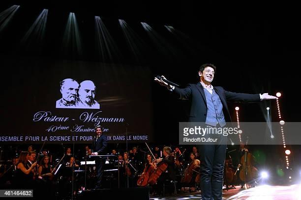 Singer Patrick Bruel performs during Weizmann Institute celebrates its 40 Anniversary at Opera Garnier in Paris on January 12 2015 in Paris France