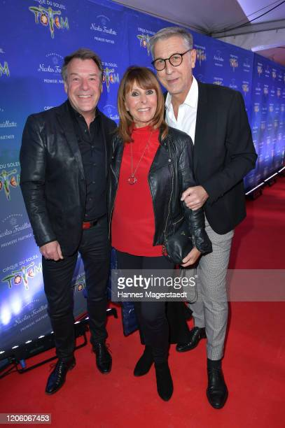 Singer Patrick Lindner Ireen Sheer and Peter Schaefer attend the premiere of Totem by Cirque du Soleil at Theresienwiese on February 13 2020 in...