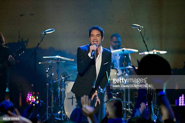 Singer Patrick Monahan of the band Train performs at Dick Clark's New Year's Rockin' Eve With Ryan Seacrest 2015 at CBS Television City in Los...