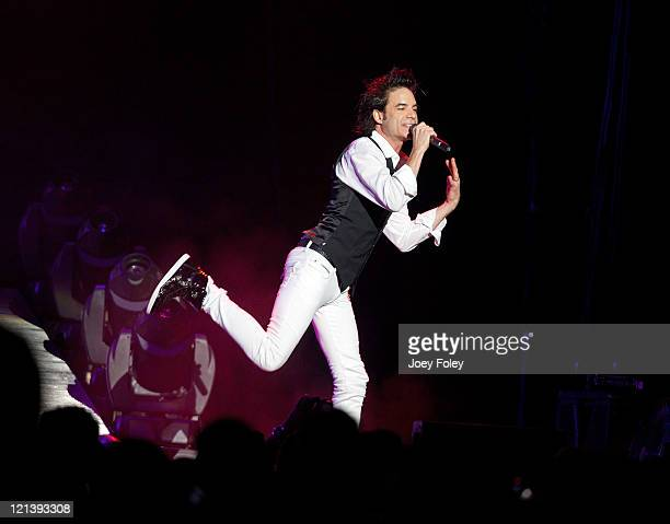 Singer Patrick Monahan of the band Train performs onstage at Conceso Fieldhouse on August 18 2011 in Indianapolis Indiana
