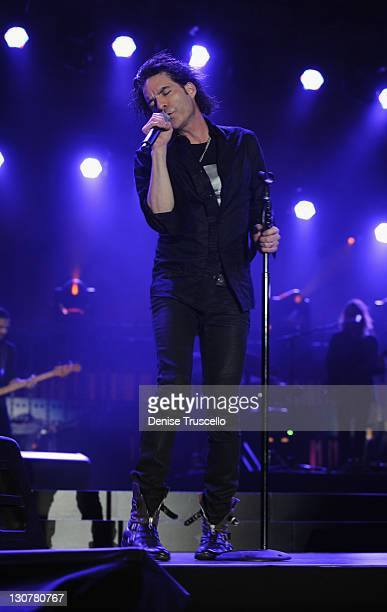 Singer Patrick Monahan of Train performs onstage during the Andre Agassi Foundation for Education's 16th Grand Slam for Children benefit concert at...