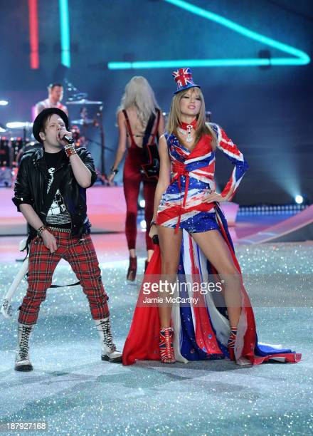 Singer Patrick Stump of the band Fall Out Boy and Taylor Swift perform at the 2013 Victoria's Secret Fashion Show at Lexington Avenue Armory on...