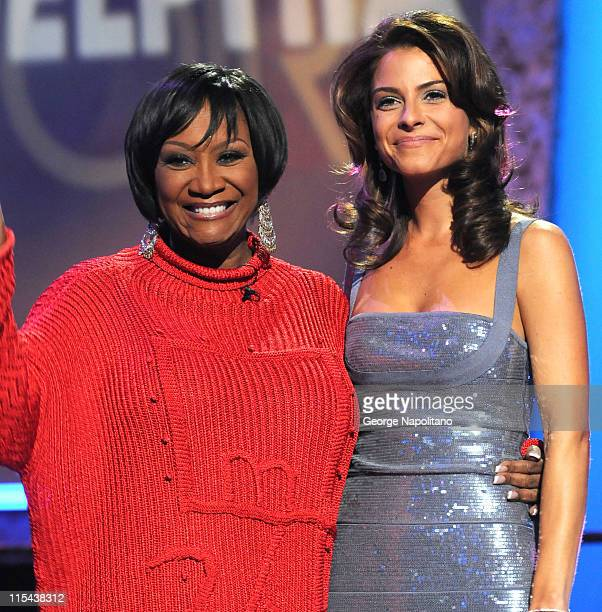 Singer Patti LaBelle and host Maria Menounos during the Clash of the Choirs rehearsal show on December 16 2007 at Steiner Studios in Brooklyn New York