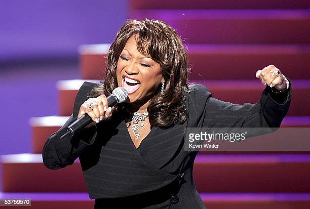 Singer Patti LaBelle performs a tribute song to Destiny's Child onstage at the 2005 World Music Awards at the Kodak Theatre on August 31 2005 in...