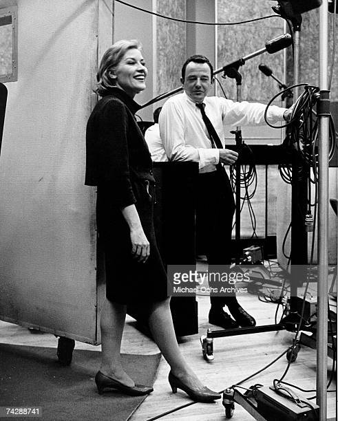 Singer Patti Page in a recording studio circa 1957