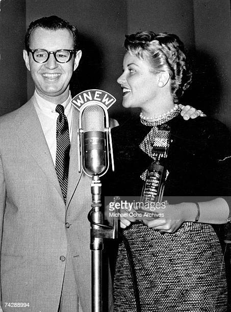 Singer Patti Page is presented an award for being voted the most popular vocalist by WNEW DJ Jerry Marshall in 1956 in New York City New York