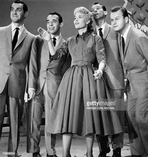 Singer Patti Page performs on a TV show with The Four Lads circa 1955 in New York City New York