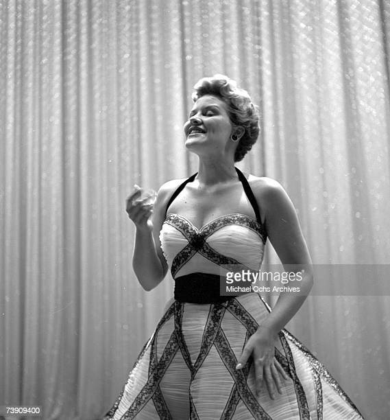 Singer Patti Page performs on the Ed Sullivan Show on May 30 1954 in New York City New York