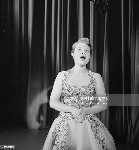 Singer Patti Page performs on the Ed Sullivan Show on October 25 1953 in New York City New York