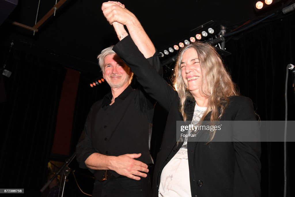 Singer Patti Smith and guitarist Lenny Kaye perform during Paris Photo 2017 Concert of Patti Smith Party at Les Bains Paris on November 9, 2017 in Paris, France.