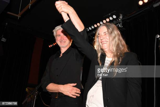 Singer Patti Smith and guitarist Lenny Kaye perform during Paris Photo 2017 Concert of Patti Smith Party at Les Bains Paris on November 9 2017 in...