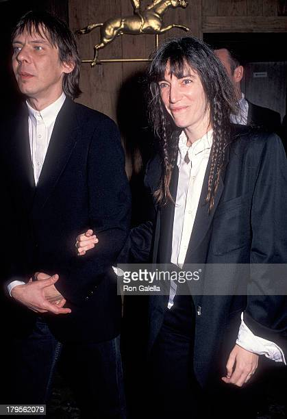 Singer Patti Smith and husband musician Fred Sonic Smith attend That's What Friends Are For Arista Records' 15th Anniversary Concert to Benefit AIDS...
