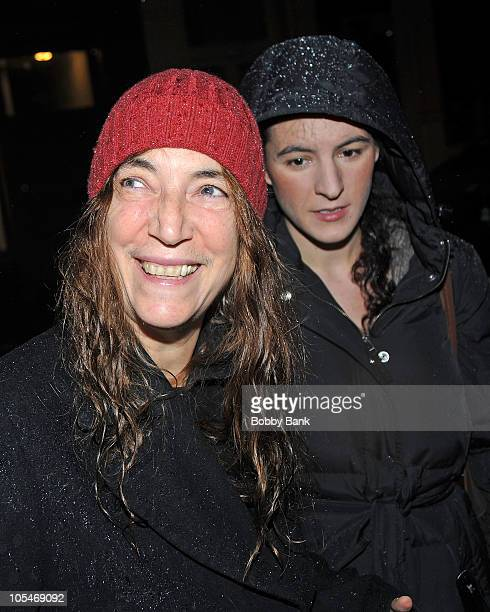 """Singer Patti Smith and Jesse Smith attend the """"From Darkness To A Dream"""" photography exhibition opening at the Morrison Hotel Gallery on October 14,..."""