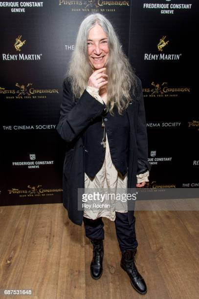 Singer Patti Smith attends The Cinema Society host a screening of 'Pirates Of The Caribbean Dead Men Tell No Tales' at Crosby Street Hotel on May 23...