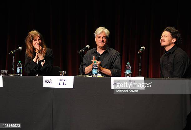 Singer Patti Smith authors David L Ulin and Dave Eggers speak onstage at day 1 of the 16th Annual Los Angeles Times Festival of Books held at USC on...