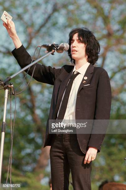 Singer Patti Smith performs at a rally celebrating the fall of Saigon that ended the Vietnam War.