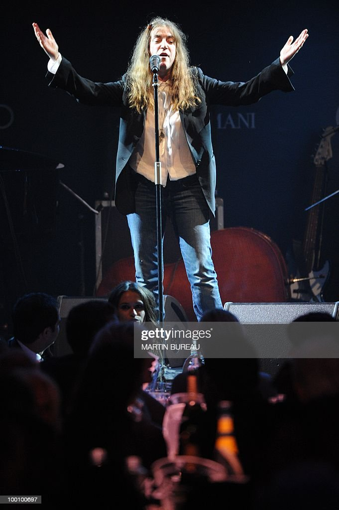 US singer Patti Smith performs at amfAR's Cinema Against Aids 2010 benefit gala on May 20, 2010 in Antibes, southeastern France.