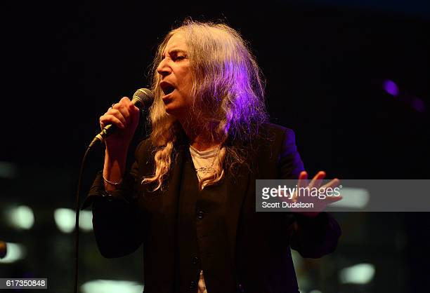 Singer Patti Smith performs onstage during the Beach Goth Festival at The Observatory on October 22 2016 in Santa Ana California